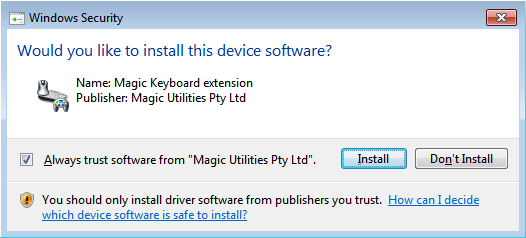 Windows 7 driver confirmation dialog