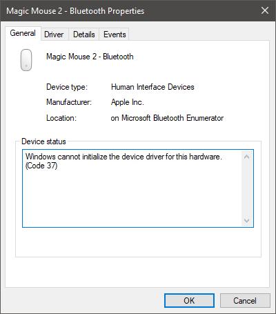 Driver error - Code 37 after computer restart - Magic Utilities