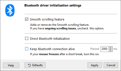 Bluetooth driver settings