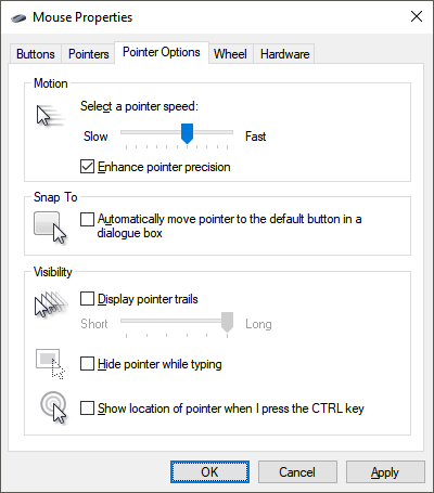 mouse pointer options